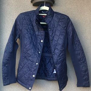 Target Merona navy quilted fitted riding jacket S
